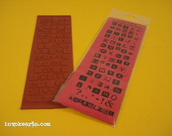 Boardless Alphabet Small / Invoke Arts Collage Alphabet Rubber Stamps / Unmounted Stamp Set