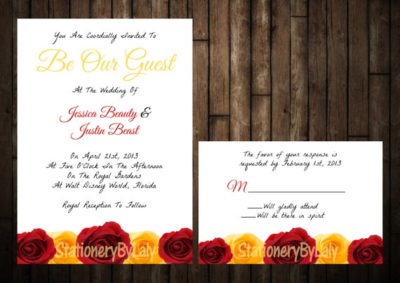 Beauty And The Beast Themed Wedding Invitations: Beauty And The Beast Wedding Invitation By StationeryByLaly