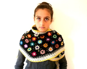 Shawl skirt crochet wool multicolored flowers on a black background