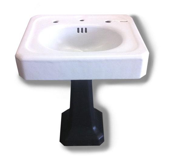 Black Pedestal Sink : Antique Pedestal Sink in Black/White by ReHouseNY on Etsy
