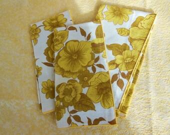 70s Era Yellow Floral Napkins