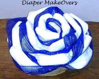 Unique Diaper Cake - Baby Shower Centerpiece or Decoration - Diaper Rose - Hospital Gift - Baby Boy, Girl, Neutral Colors