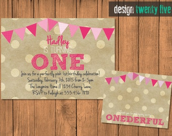 PRINTABLE Kraft Paper Perfectly Pink First Birthday Invitation Set // Custom