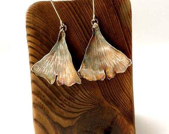 Sale15%Sterling Silver Earrings,Ginko Leaves,Earrings Gingko  Leaves,Rustic Silver,Raw,Dangle,Oxidized,Botanical Earrings,Handmade,For Women