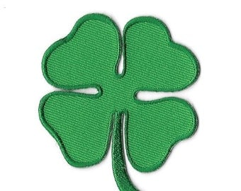 Lucky Four Leaf Clover Embroidered Patch, Iron On Applique
