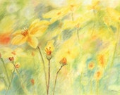 Summer flowers, original pastel drawing, pastel art, home decor, wall art, instant download