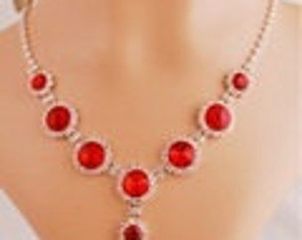 Fashion New Red Necklace With Matching Earrings