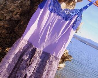 Purple Beach Dress size M or L traveller, roamer, wanderer, Bohemian, rover, rambler, nomad, vagrant, Romany,Gypsy,burlesque, drama, circus,
