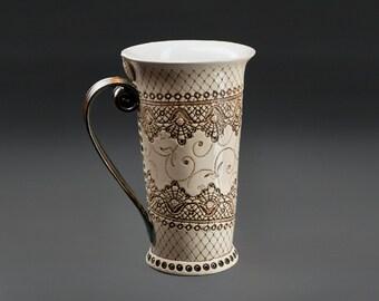 Ceramic Mug, Tea Mug, Handbuilding Techniques, handpainted, teacup, mug, ceramic coffee mug, large coffee mug, pottery coffee mug, hand made