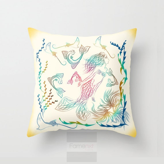 Mermaid Decorative Throw Pillow Case. Vibrant by FamenxtFiesta