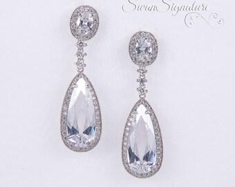 Crystal Bridal earrings Wedding jewelry Swarovski Crystal Wedding earrings Bridal jewelry, Crystal Drop Bridal Earrings stl81
