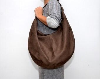 Large HOBO Bag Handbag Various Colours Alcantara