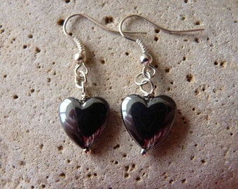 Single Hematite Heart Earrings