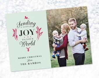 """Photo Christmas Card Template: """"Joy"""" - 5x7"""" 2-Sided Card"""