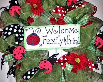 Lady Bug wreath, Spring Wreath, Summer Mesh wreath, mesh door decor