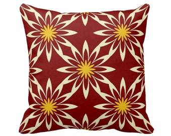 Burgundy Pillow Cover, Geometric Pillow, Red and Yellow Decorative Throw Pillows, Accent Pillow, Sofa Pillow, Designer Pillows Cushions