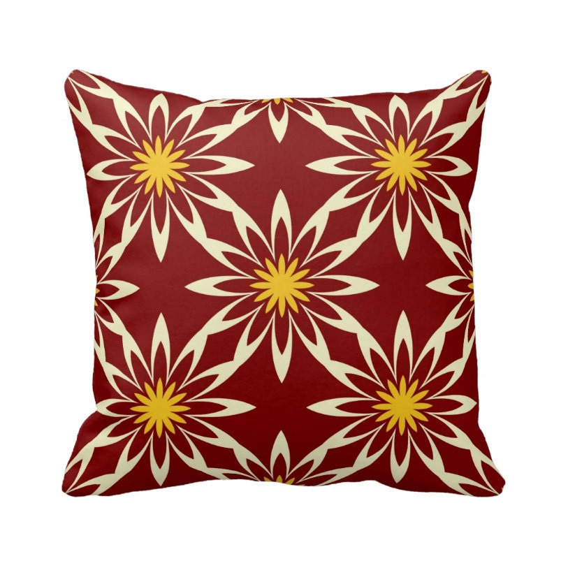 Burgundy Pillow Cover Geometric Pillow Red and Yellow
