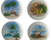 Set of 4 Tropical Beach Ceramic Knobs or Pull for Furniture or Cabinets