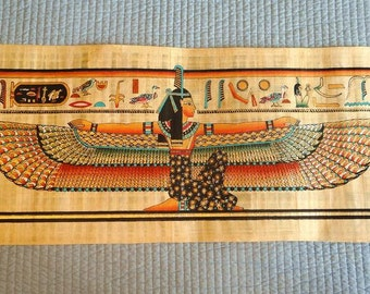 "Huge Handmade Papyrus of Egyptian Queen Winged ISIS Painting...32""x12"" Inches"