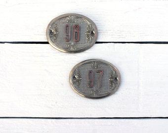 Vintage metal  Apartment Number 97 98  Adress Number Room Number. Soviet Vintage, collectibles number,Home decor USSR era