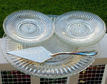 International Silver Cake Stand, Dessert Plates and Server, New