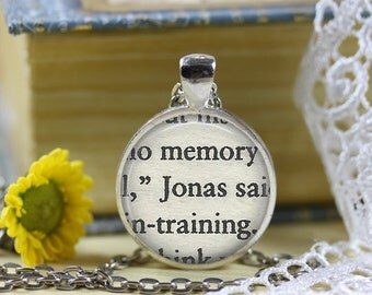 The Giver Book Page Necklace The Giver Jewelry Jonas Necklace