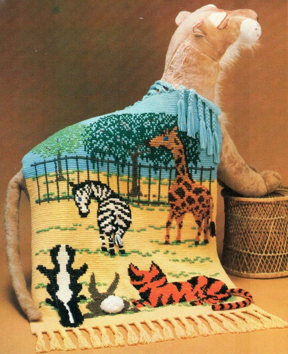 Zoo Animals Fringe Afghan Crochet Pattern Cross by PatternMuseum
