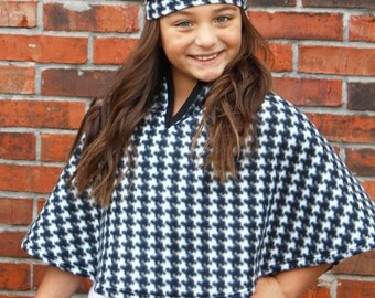 Kid's Fleece Cape with Hat: Little Girl's Cape w/ Hat- Black/White Houndstooth.  Available sizes 3/4, 5/6