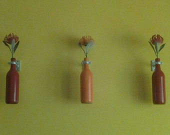 Upcycled Wine Bottle Wall Vases, 3 Painted Bottles, Hanging Wine Bottles, Metal Hardware for Hanging
