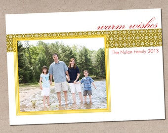 Holiday Photo Card: Damask & Frame