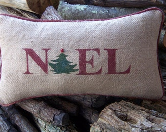 Holiday stenciled burlap pillow