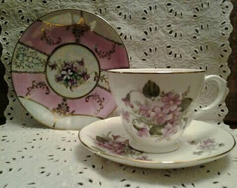 Mixed Set of Cup and Saucer and Dessert Plate with Violets