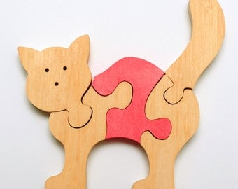 Wooden Cat puzzle for childrens.