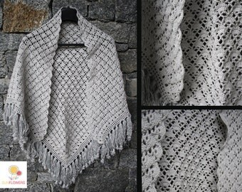 Pearl Grey shawl handmade crochet