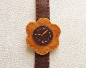 Brown Flower Felt Watch For Baby and Toddler