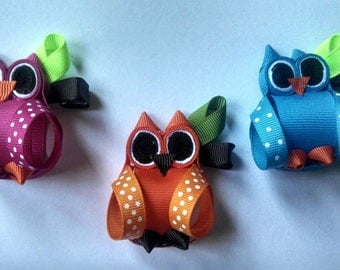Hoot Owl hair clippie you choose color