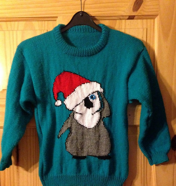 Free Knitting Pattern For Baby Cardigan : Childrens & Adults Christmas Penguin Front And Back Jumper / Sweater Knit...
