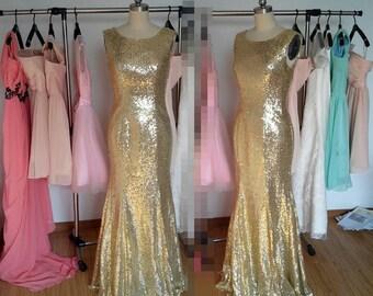 Gold Sequins V-back Prom Dress, Long Prom Dresses Formal Dress Evening Dress Wedding Party Dress 2015
