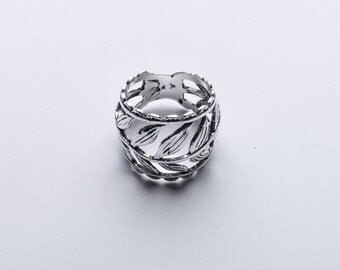 Sterling Silver oxidised Leaf wrap ring