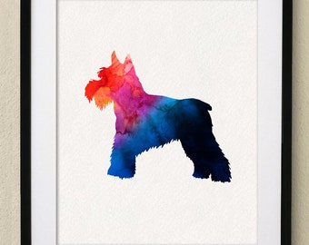 Dog Poster - Miniature Schauzer Watercolor Painting Wall Art Wall Decor Art Home Decor Wall Hanging