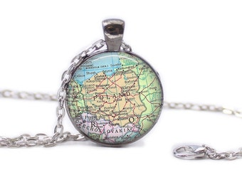 Poland Map Pendant Map Necklace Map Jewelry