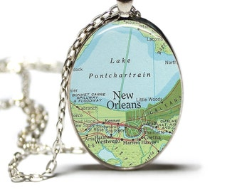 New Orleans Map Pendant Map Necklace Map New Orleans Jewelry