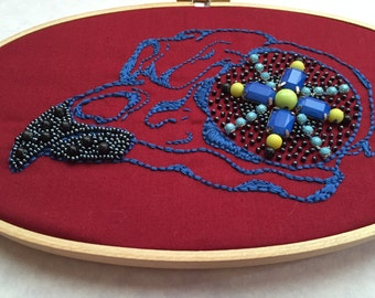Hoop Art Embroidery, Owl Skull Wall Art, Hand Embroidered