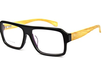 Square Eyeglasses-Pure wood Temple handcrafted