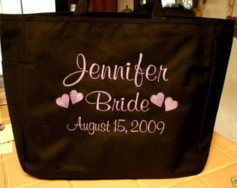 1 Personalized Tote Bag Monogram Bride Shower Gift Wedding Teacher FRIEND  Personalized Embroidered Sister Family
