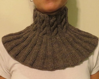 Alpaca and merino neckwarmer, cowl, scarf. Camel brown, very soft and warm.