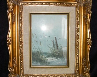 Vintage Original Oil Painting by H Gailey, framed in a beautiful ornate gold frame, wood.