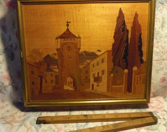 Wood  marquetry framed European Street Scene