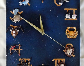 Zodiac Orologio\Quadro in polymer clay on canvas, painting background