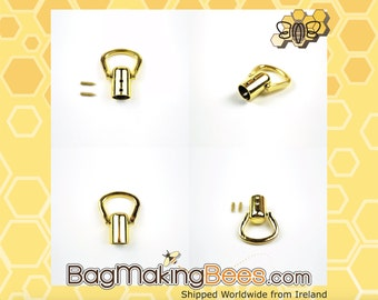 Gold Handle / Strap / End Stopper With Curved Ring For Purses Bags And Clutches [Set Of 4]